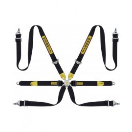 SABELT LIGHTWEIGHT SALOON 6 POINT FIA - 2 INCH BLACK YELLOW STRAPS