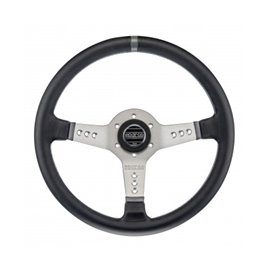 SPARCO L777  3spoke 350mm depth 63mm leather black spoke