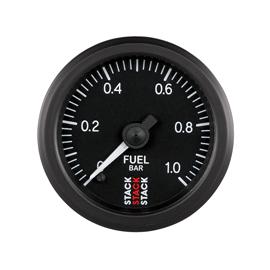 STACK 52mm Professional Stepper Motor Analogue Gauges BLACK Fuel Pressure 0-1 Bar (M10x1)