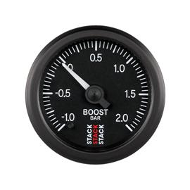 STACK 52mm Professional Stepper Motor Analogue Gauges BLACK Boost Pressure -1.0 to +2.0 Bar