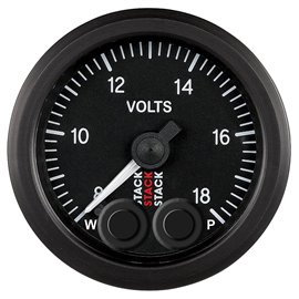STACK Pro-Control Black 52mm 8-18V Battery Voltage Gauge with memory