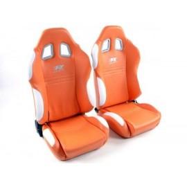 Sportseat Set New York artificial leather orange/white seam white