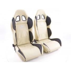 Sportseat Set Houston artificial leather beige/black seam beige