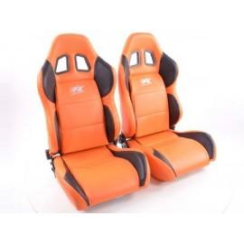 Sportseat Set Houston artificial leather orangeblack seam orange