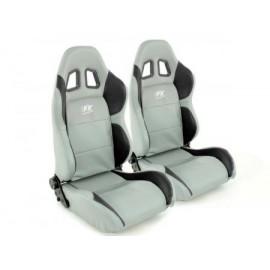 Sportseat Set Houston artificial leather grey/black seam grey
