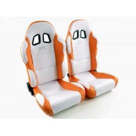 Sportseat Set Miami artificial leather white/orange