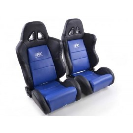 Sportseat Set Dallas artificial leather blue/black seam blue