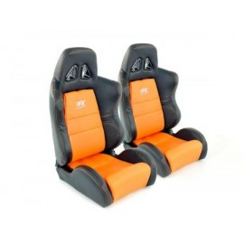 Sportseat Set Dallas artificial leather orangeblack seam orange