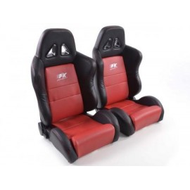 Sportseat Set Dallas artificial leather red /black seam red /