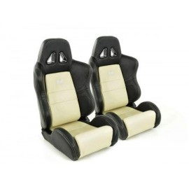 Sportseat Set Dallas artificial leather beige/black seam beige