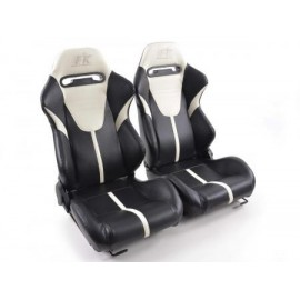 Sportseat Set Atlanta artificial leather black/white