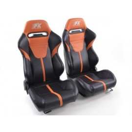 Sportseat Set Atlanta artificial leather black/orange