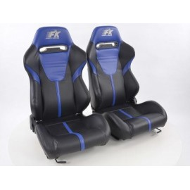 Sportseat Set Atlanta artificial leather black/blue