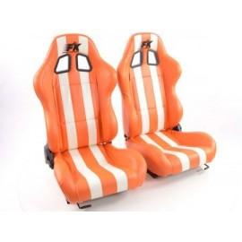 Sportseat Set Indianapolis artificial leather orange/white