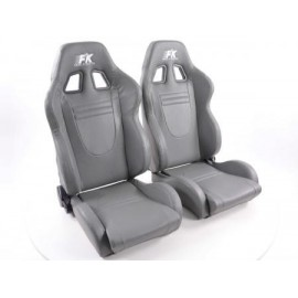 Sportseat Set Racecar artificial leather grey
