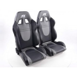 Sportseat Set Racecar artificial leather black/grey