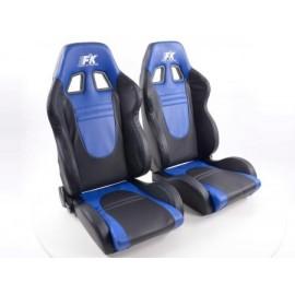 Sportseat Set Racecar artificial leather black/blue