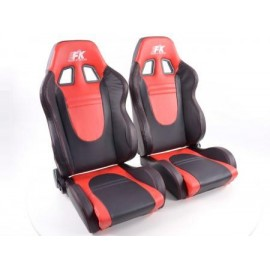 Sportseat Set Racecar artificial leather black/red /