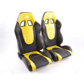 Sportseat Set Racecar artificial leather black/yellow