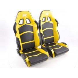 Sportseat Set Cyberstar artificial leather black/yellow
