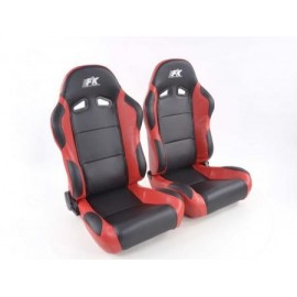 Sportseat Set Spacelook Carbon artificial leather black/red /