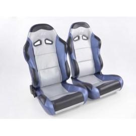Sportseat Set Spacelook Carbon artificial leather silver/blue/black