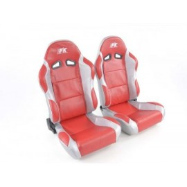 Sportseat Set Racing artificial leather red /grey