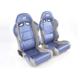 Sportseat Set Racing artificial leather blue/grey