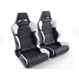 Sportseat Set Las Vegas artificial leather black/white seam white