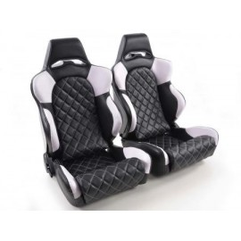Sportseat Set Las Vegas artificial leather black/white back made of GFK