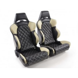 Sportseat Set Las Vegas artificial leather black/beige back made of GFK