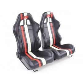 Sportseat Set Portland artificial leather black/white/Red /