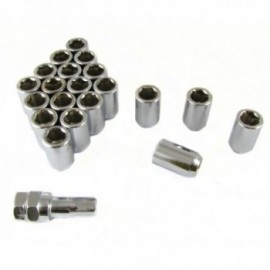 Japan Racing set of SILVER imbus lug nuts 12x1,5 + Key