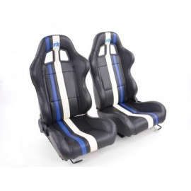 Sportseat Set Portland artificial leather black/white/Blue
