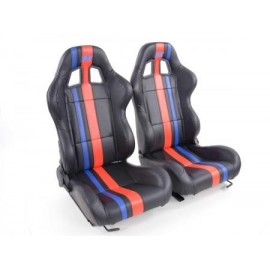 Sportseat Set Portland artificial leather black/Red /Blue