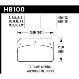 HAWK HB100J.480 brake pad set - DR-97 type (12 mm)