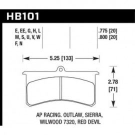 HAWK HB101W.800 brake pad set - DTC-30 type (20 mm)