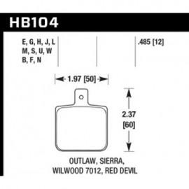 HAWK HB104S.485 brake pad set - HT-10 type (12 mm)