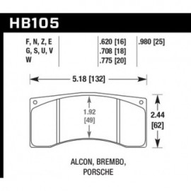 HAWK HB105E.620 brake pad set - Blue 9012 type (16 mm)