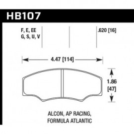 HAWK HB107G.620 brake pad set - DTC-60 type (16 mm)