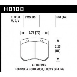 HAWK HB108E.560 brake pad set - Blue 9012 type (14 mm)