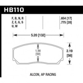HAWK HB110E.654 brake pad set - Blue 9012 type (17 mm)