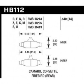 HAWK HB112E.540 brake pad set - Blue 9012 type (14 mm)