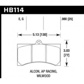 HAWK HB114E.980 brake pad set - Blue 9012 type (25 mm)