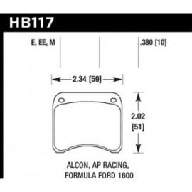 HAWK HB117E.380 brake pad set - Blue 9012 type (10 mm)