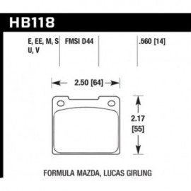 HAWK HB118E.560 brake pad set - Blue 9012 type (14 mm)
