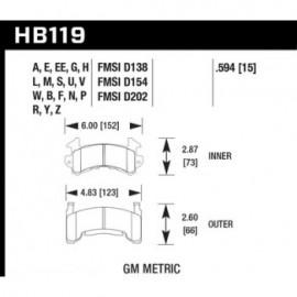 HAWK HB119U.594 brake pad set - DTC-70 type (15 mm)