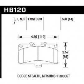HAWK HB120E.560 brake pad set - Blue 9012 type (14 mm)