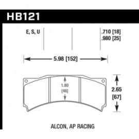 HAWK HB121S.980 brake pad set - HT-10 type (25 mm)
