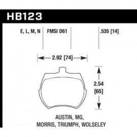 HAWK HB123E.535 brake pad set - Blue 9012 type (14 mm)